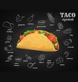 tacos ingredients chalkboard menu fast food vector image