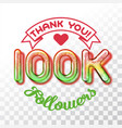thank you 100k followers vector image