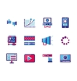Video blogging flat color icons vector image vector image