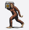 walking sasquatch with boombox vector image vector image