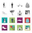 wedding and attributes monochromeflat icons in vector image