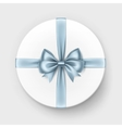 White Round Gift Box with Light Blue Bow Isolated vector image vector image