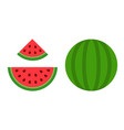 whole and sliced watermelon icon flat isolated vector image