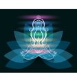 Yoga meditation woman lotus silhouette vector image
