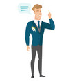 young caucasian groom with speech bubble vector image vector image