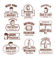 icons set for beer brewery pub bar or shop vector image