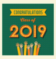2019 graduation card or banner design vector image vector image