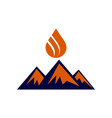 abstract mountain fire logo icon vector image vector image