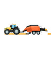 agriculture tractor with hay baler machine vector image vector image