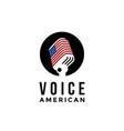 american voice microphone logo icon vector image vector image
