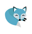 Blue fox icon flat style logo concept element
