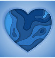 blue paper cut heart vector image