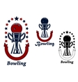 Bowling game icons with trophy cup vector image vector image