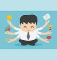 businessman practicing mindfulness meditation and vector image