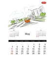 Calendar 2014 may Streets of the city sketch for vector image vector image