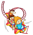 cartoon roller coaster vector image