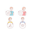 clock open mail and innovation icons shop cart vector image