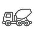 concrete mixer truck line icon transport vector image