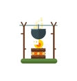 Cooking Pot On Fire vector image vector image