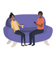 couple using smartphone in sofa avatar vector image vector image