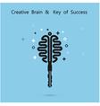 Creative brain logo with key logo vector image