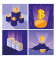 crypto mining bitcoin set icons vector image