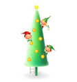 cute christmas elves decorating christmas tree - v vector image