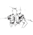 drawing a man wearing shoulder pads vector image