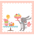 Easter rabbit tea party vector image