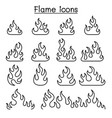 fire flame icon set in thin line style vector image vector image