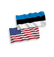 flags of estonia and america on a white background vector image vector image