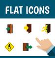 flat icon emergency set of open door entry vector image vector image