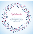 floral wreath blue leaves and pink berries vector image vector image