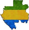 Gabon map with flag inside vector image vector image