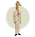 giraffe hipster style with beige suit red tie vector image vector image