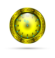 gold clock with curly ornament vector image