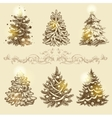Golden Christmas trees vector image vector image