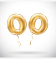 golden number 00 two zeros metallic balloon party vector image vector image