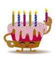 happy birthday kawaii cake vector image