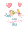 happy valentines day couple characters flying vector image
