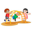 kids playing climbing metal monkey bar on backyard vector image