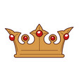 king gold crown inlaid with rubies isolated vector image vector image