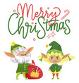 merry christmas elves preparing presents for kids vector image vector image