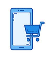 mobile shopping line icon vector image
