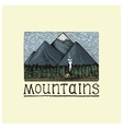 mountains with house and forest engraved hand vector image vector image