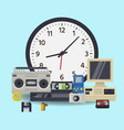 old wall clock and retro technology multimedia vector image vector image
