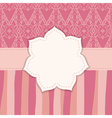 pink greeting card with a flower frame vector image vector image