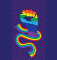 rainbow clenched fist with ribbon design vector image vector image