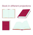 red book in different projections open and vector image