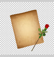 retro of worn parchment and red rose vector image vector image